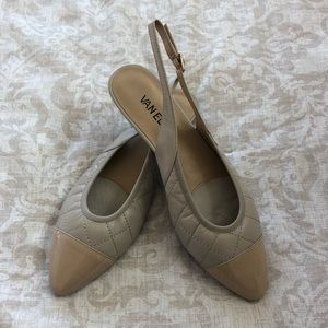 Vaneli Beige Quilted Slingback Flats with Box